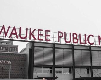 Milwaukee Public Market Panoramic Print Black and White