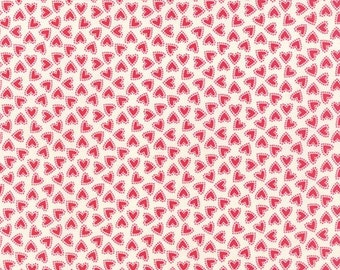"Moda Fabric ""North Woods"" by Kate Spain - One Yard Cut - red heart fabric, white heartbfabric, valentines fabric, heart fabric, love fabric."