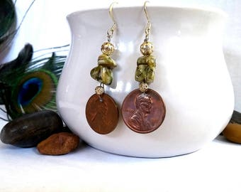 Sea Green, Shell Bead, Coin Jewelry, Abolitionist Earrings, Jewelry with a Cause