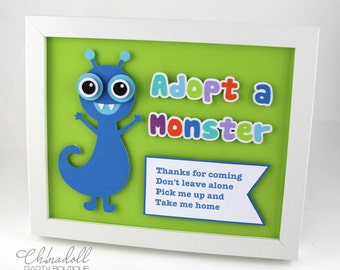monster party sign | little monster | adopt a monster | bedroom decor | nursery decor | personalised with any message