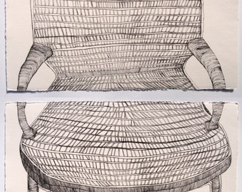 Chair - drypoint etching