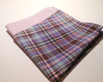 Purple Plaid Reversible Cotton Pocket Square