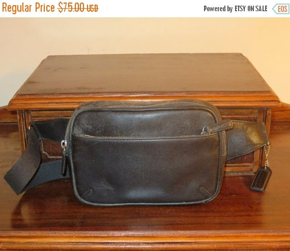 Football Days Sale Coach Waist Pouch In Black Leather Style No 5446 - AKA- Fanny Pack- VGC