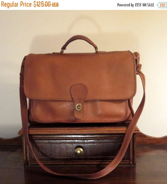 Football Days Sale Coach Metropolitan Style British Tan Leather Briefcase Attache Laptop IPad Carrier -Slightly Distressed- Made In The Unit