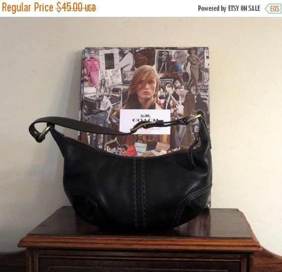 Football Days Sale Coach Soho Hobo Bag In Black Leather With Brass Hardware Style No 11543- VGC
