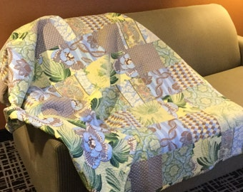 Handmade Large Lap Quilt - Hawaiian style blue flowers with yellow and green