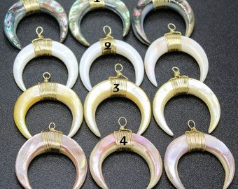 3/6pcs Crescent Pendant Mix Color Horn Pendant Charms Mens Horn Bone Pendant Golden Wire Wrapped Jewelry Personalized Gift For Christmas