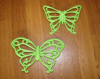 Upcycled Butterflies, Cheerful Bright Green, Wall Décor, Cottage Décor, Cottage, French Cottage, Country Cottage, Butterfly