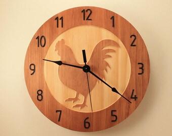 Pine rooster clock Chicken clock Kitchen clock Wall clock Wood clock Wooden wall clock Home clock Decorative clock Animal clock Farm decor