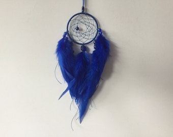 Small Sapphire Blue Dreamcatcher - small dream catcher, small dreamcatcher, blue dreamcatcher, blue dream catcher