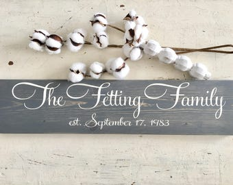 Family Name Sign - Family Established Sign - Last Name Sign - Custom Family Sign - Anniversary Gift - Wedding Gift - Christmas Gift