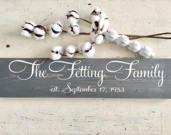 Family Name Sign - Family Established Sign - Last Name Sign - Family Name Sign - Anniversary Gift - Wedding Gift - Wedding Shower Gift