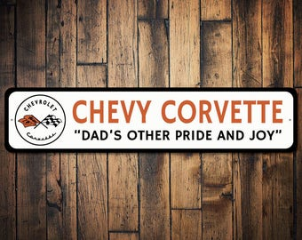 Dad's Chevy Sign, Chevy Corvette Sign, Corvette Flags Decor, Corvette Logo Sign, Car Lover Dad Gift - Quality Aluminum Sign ENS1002641