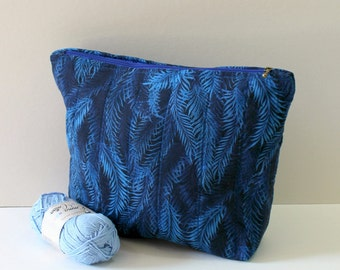 Large zipper pouch, Blue feather pouch, Long zipper opens wide fully lined. Personalized blue pouch. Handmade zipper pouch. Blue pouch.