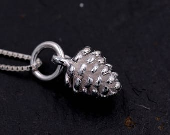Sterling Silver Tiny Little Pinecone Pine Cone Charm Necklace Good Luck Charm 16'' - 18''  Y71