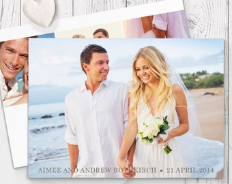 Modern Script Wedding Thank Your Card with 4 Photos, Free Colour Changes, Professionally Printed - Peach Perfect Australia