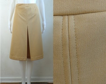 35%offJuly21-24 70s knit skirt size large 14, beige brown minimalist knit acrylic a-line skirt, inverted pleat stretch waist skirt 1970s