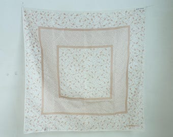 geometric scarf, sheer gauze cotton scarf, white brown, square scarf, neck scarf, kite print scarf, 70s ascot, mad men, 1970s scarf