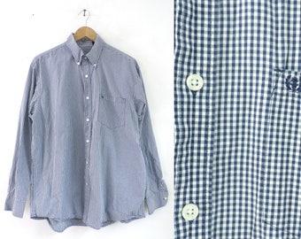 izod checkered mens shirt size large, 90s cotton plaid button down shirt, 1990s blue white preppy mens collared dress shirt