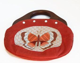 Vintage 1970s BUTTERFLY BERMUDA HANDBAG - Orange Velvet purse with Wood Handle and detachable handbag- Mid Century Mod Purse - Hippie Clutch