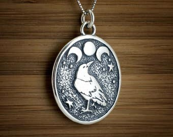 STERLING SILVER Raven and Triple Moon Pendant or Necklace My ORIGINAL- Chain Optional