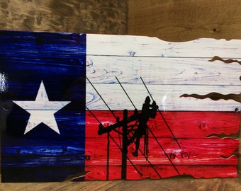 Texas Lineman steel sign wood look