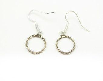 Native American Indian Jewelry Sterling Silver Hoop Dangle Earrings
