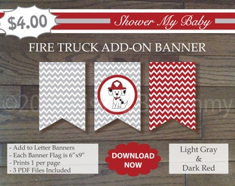 Red and Gray Fire Dog Add-On Banner -60% Off- Printable Baby Boy Shower Banner- L Gray Dark Red - Fireman Baby Shower Decorations- 22-1