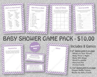 Lavender Silver Glitter Baby Shower Game Pack - 75% OFF -PRINTABLE Purple Baby Shower Games- 8 Pack- Lav Silver -Diaper Raffle Ticket 17-S47