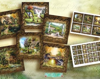 lovely Landscape Printable Download,Digital Collage Sheet,for magnets pendants greeting cards gift tags 9x9cm,4x4cm,3,5x3,3zoll,1,5x1,5zoll