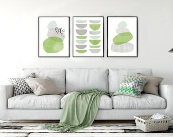 Mid century, abstract, triptych wall art. Greenery and gray scandinavian decor. Minimalist, hygge printable home decor. Set of three prints.
