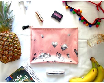 Pink clutch purse with silver elements, magic stars and shakerabili
