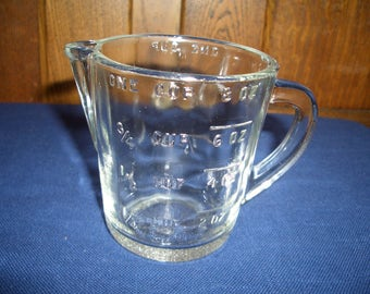 Vintage 8 Ounce Measuring Cup...One Cup Measure...Clear Glass...Glasbake