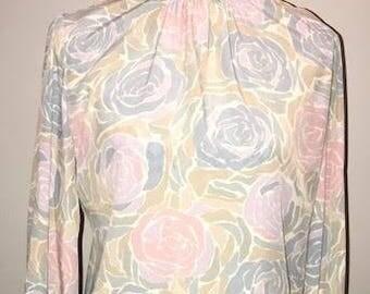 Vintage Floral Secretary Blouse / size 8 / by Dalton