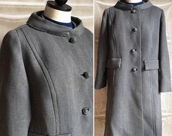 1950s vintage gray wool winter coat 50s grey 1960s 60s