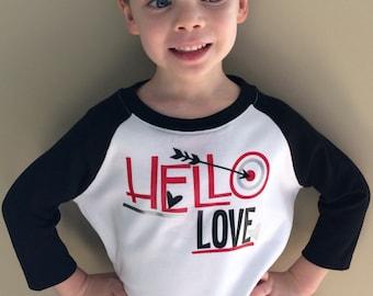 Boy Valentines Hello Love raglan shirt