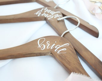 Custom Wedding Dress Hanger  | Calligraphy Dress Hangers |  Bridesmaid Hangers | Custom Hangers | Wedding Dress Hangers | Bridesmaid Gifts