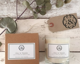 Gin & Tonic Scented Candle with a Hint of Lemon and Lime, Natural Soy Wax, Gift Boxed Wedding