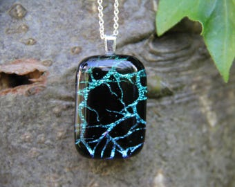 Branches dichroic glass  pendant,  dichroic glass necklace , blue to lilac fused glass, blue dichroic, tree pendant, fused glass pendant