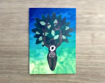Goddess Card, Tree Goddess Greetings Card, Pagan, Wiccan, Crochet Card