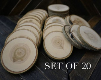 "Set of 20 3.5""-4"" Wood Slices - Rustic Wedding Decor - Tree Slices - Wood Discs - Tree Log Coasters - Wedding Favors - DIY Wedding"