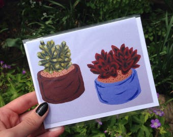 Succulent Greeting Card, Blank Card