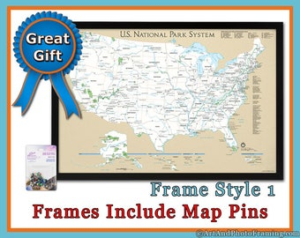 Framed Map Etsy - Framed us map