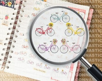 60 bicycles Stickers | Ideal for planners, calendars, journals, scrapbooks and more