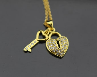 Heart Necklace, Key Necklace, Gold Heart Lock Key Charm Necklace, Wife Gifts, Girlfriend Gifts, Romantic Gifts,  Personalized Necklace
