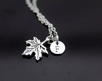 Silver Maple Leaf Charm Necklace, Maple Leaf Charm, Maple Leaf Pendant, Personalized Necklace, Initial Charm, Initial Necklace, Customized