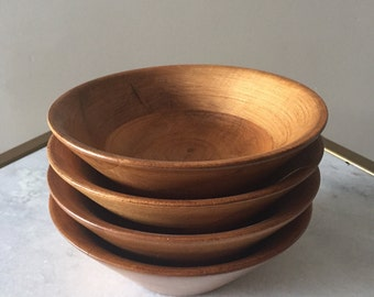 Vintage 1970s Baribocraft Mid Century Teak Wood Salad Bowls 4 Total. Made In Canada.