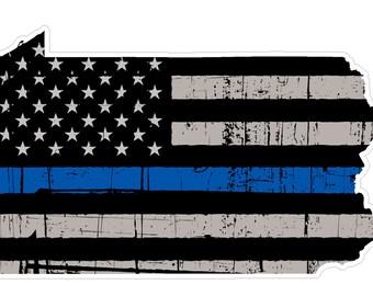 Pennsylvania State (V39) Thin Blue Line Vinyl Decal Sticker Car/Truck Laptop/Netbook Window