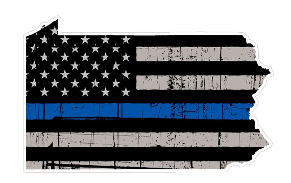 Pennsylvania State V39 Thin Blue Line Vinyl Decal Sticker