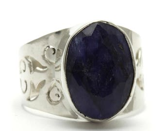 Created Sapphire Ring, 925 Sterling Silver, Unique only 1 piece available! SIZE 6.25 (inner diameter 16.67mm), color navy blue, weight 4.3
